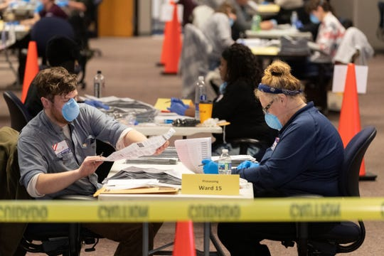 City of Milwaukee Election Commission workers process absentee ballots in Wisconsin's presidential primary election on Tuesday in Milwaukee, Wis.
