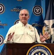 Louisiana Governor John Bel Edwards delivers an update on the coronavirus crisis on April 8 during a press conference.