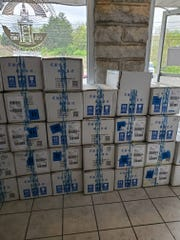 Boxes with N95 masks await to be distributed Tuesday (April 7, 2020) to emergency workers for local governments within Rutherford County and Middle Tennessee State University.