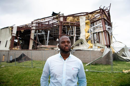 Rev. Jacques Boyd poses for a portrait outside of Mount Bethel Missionary Baptist Church's Christian Center Wednesday, April 8, 2020, in Nashville, Tenn. The church was destroyed in the March 3, 2020 tornado.