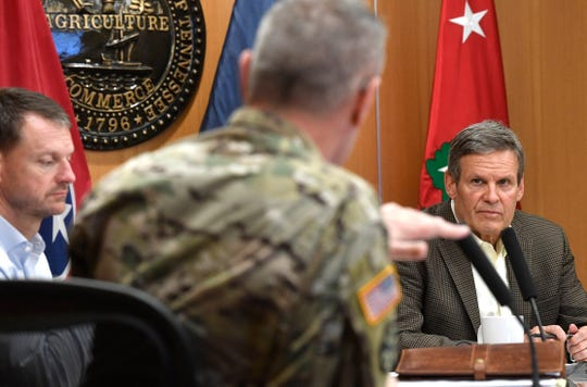 Gov. Bill Lee gathers information as he attends the Unified Command briefing at the Department of Military complex on Sidco Drive in Nashville, Tenn. Monday, April 6, 2020.