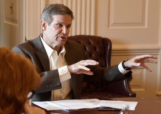 Gov. Bill Lee meets with senior staff in his conference room at the state Capitol in Nashville on April 6, 2020.