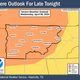 The National Weather Service in Nashville said there's an enhanced risk of severe weather late Wednesday night and into Thursday morning, potentially bringing damaging winds and large hail to parts of Middle Tennessee.