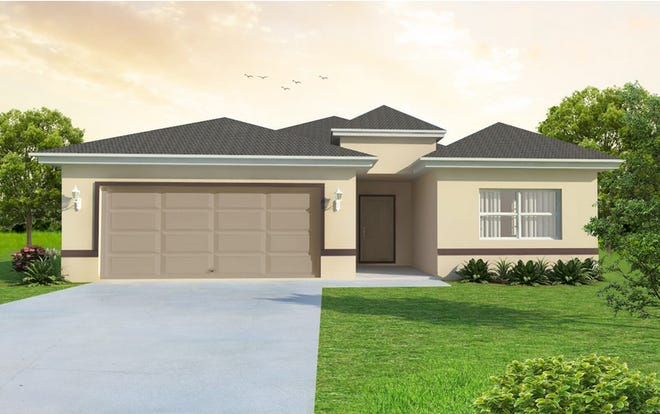 An artist's conception of the Fiesta, a single-family design nearing completion at Arrowhead Reserve in Immokalee.