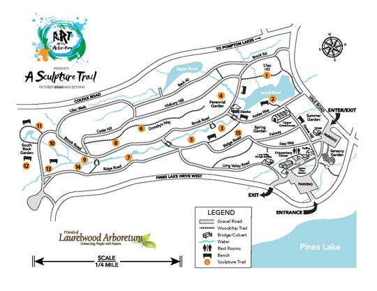 This map of the arboretum shows the layout of its future sculpture trail.