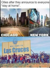 "A photo of a group event defying New Mexico's ""social distancing"" public health order was the topic of a meme comparing local compliance with that of Chicago and New York. The image circulated on social media beginning Tuesday, April 7, 2020."