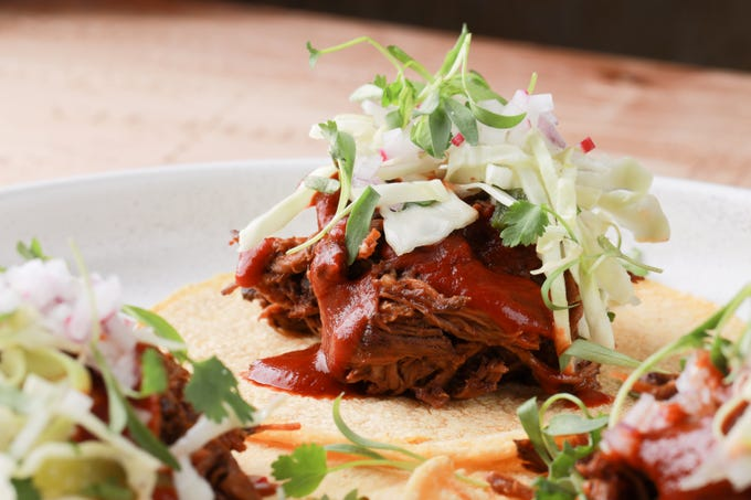 Chile Negro Tacos at Mochilero Kitchen, now open for takeout and delivery at 6791 W. Happy Valley Road in Peoria.