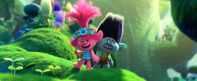 """Poppy (Anna Kendrick) and Branch (Justin Timberlake) in DreamWorks Animation's """"Trolls World Tour,"""" directed by Walt Dohrn."""