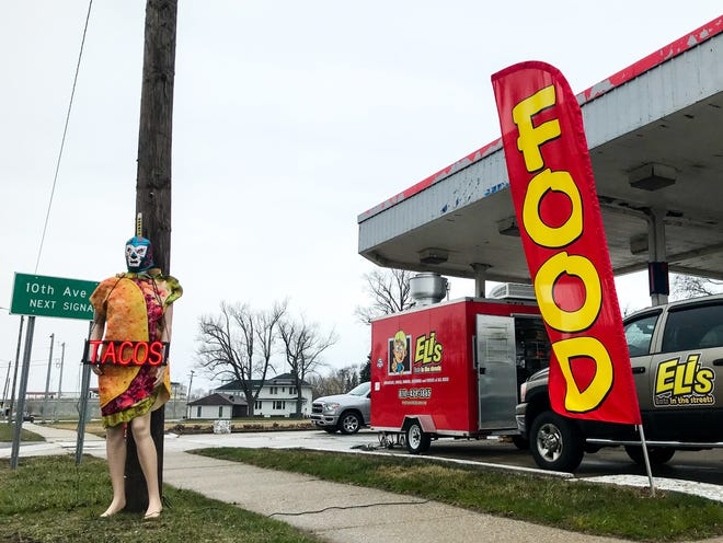 A mannequin advertises tacos for Huron Food Fleet, located at 1912 Pine Grove Ave. in Port Huron, on April 7, 2020.