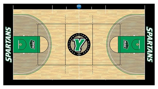 Above is the new floor design for York College's Wolf Gymnasium.
