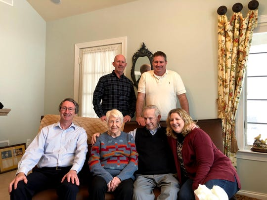 "The Potter family gathers around Ken for his 80th birthday celebration. Standing (from left) Kevin Potter and David Potter. Seated (from left) Ken ""Butch"" Potter, Jr., Sandy Potter, Ken Potter, Sr., and Lizabeth Potter."