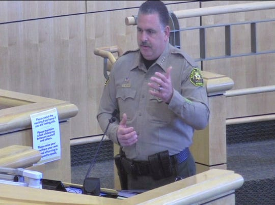 Shasta County Sheriff Eric Magrini speaks at the Board of Supervisors meeting on April 7, 2020. Magrini said bookings at the county jail were down, leading to an inmate population of 77% of capacity, which he said is the lowest number of jail inmates he can remember.