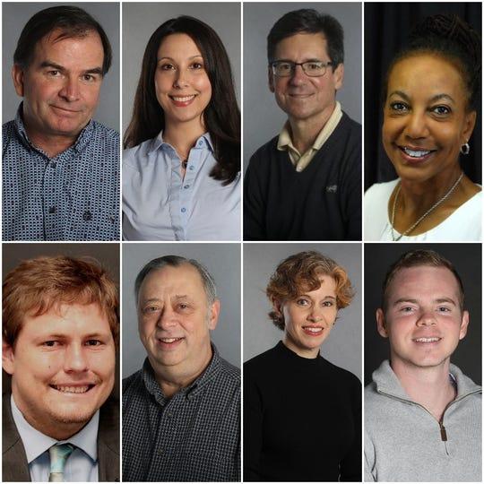 Clockwise from top left: Damon Arthur, Alayna Shulman, David Benda, Michele Chandler, Matt Brannon, Jessica Skropanic, Mike Chapman and Ethan Hanson
