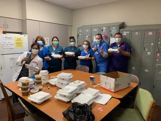 Us Up North owner, Chef Hardette Harris, is preparing and donating meals to first responders, seniors, and home bound residents in Shreveport-Bossier City during the coronavirus pandemic. (Pictured: Christus Highland Medical Center's Hospitalist Inpatient Team)