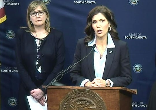 Governor Kristi Noem provides a daily coronavirus update on April 8.