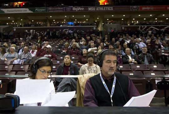 Lynne Miller, left, broadcast the Missouri State women's basketball game against Arkansas-Little Rock in 2013.