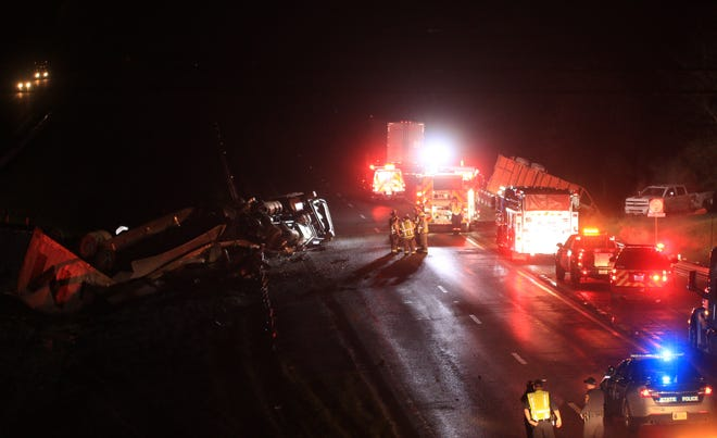 One person was killed and five others injured Tuesday night in a crash at mile marker 207 on Interstate 81 in Augusta County.