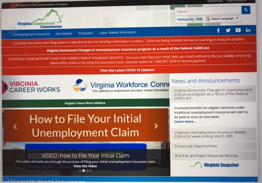 The Virginia Employment Commission recommends using its website to file claims for unemployment.