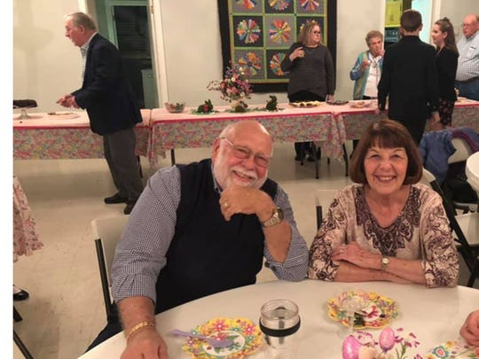 Bill and Judy Kirkendall celebrate Easter Vigil at Zion Lutheran Church in Waynesboro in 2019. This year, the service, along with all services for Holy Week, won't be happening in person.