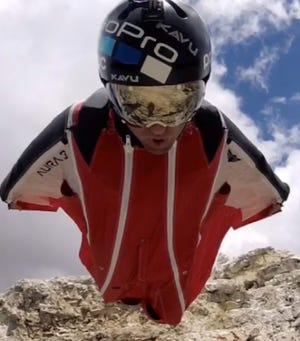 Photo of BASE jumper Marshall Miller from his Instagram.