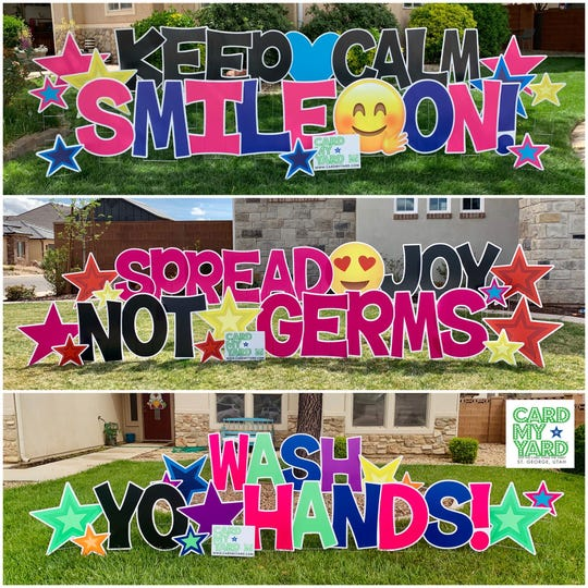 A few examples of the Card My Yard business started by Washington City resident Crystal Wood to decorate the yards of St.George area families.