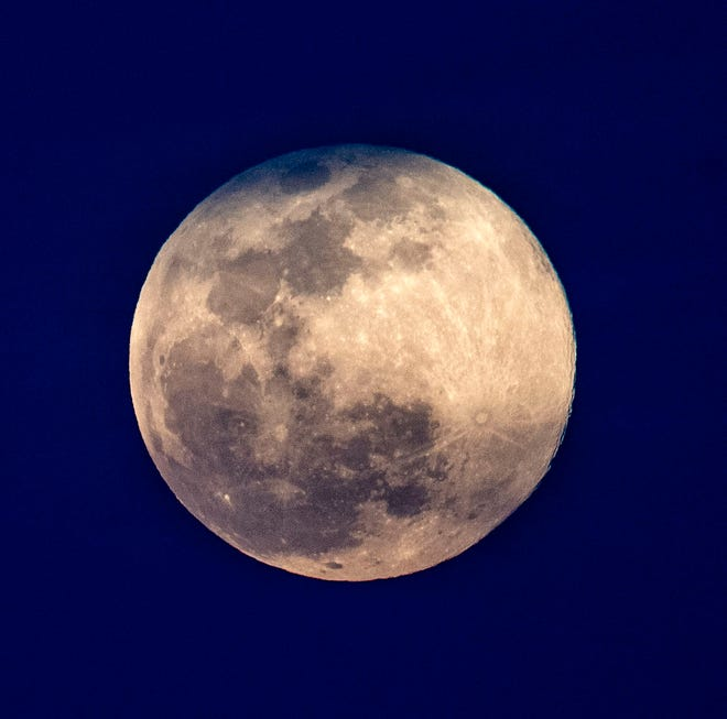 The super pink moon rises over Tallahassee, Tuesday, April 7, 2020. Observation activities are planned for this year for Oct.16, International Observe the Moon Night.