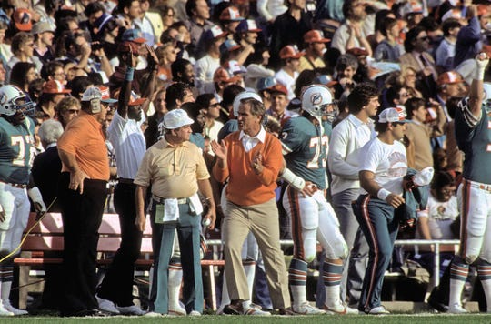 Miami Dolphins head coach Don Shula on the sidelines against the Washington Redskins during Super Bowl XVII on Jan. 30, 1983, at the Rose Bowl in Pasadena, California.