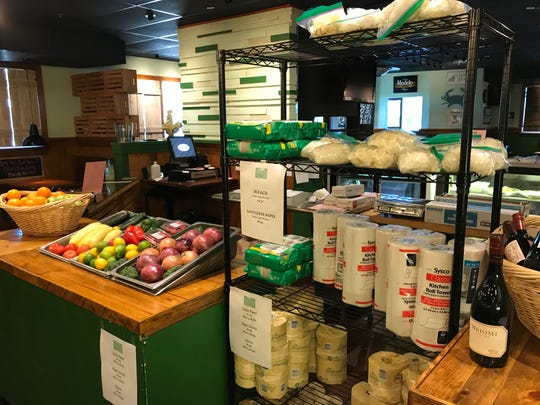 Market items for sale in The Green Marlin Restaurant and Raw Bar at 1475 US Highway 1, just outside Vero Beach.