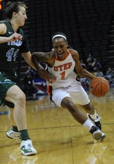 1. UTEP 69, Tulane 65, March 10, 2012  UTEP's Kim Smith faces off against Tulanes's Brett Benzio during the Conference USA Women's Basketball Championship at the FedExForum in Memphis.