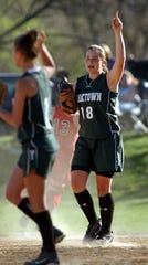 Yorktown's Cassie Reilly-Bocci rallies with her team during their game against Ketcham at Yorktown High School April 20, 2006. Yorktown won 5-1.