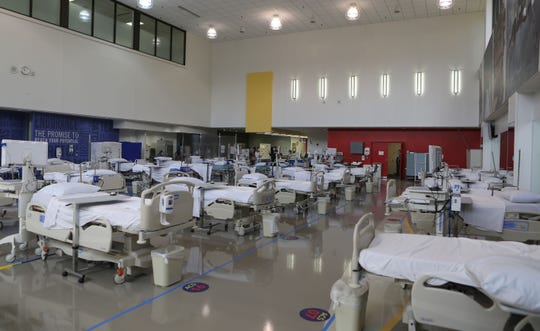 The Sports Medicine Gym at the Nemours Alfred I. duPont Hospital for Children was quickly changed into an alternative care site to help hospitals deal with patients who do not have the coronavirus.