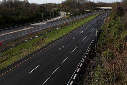 Usually busy with rush hour traffic heading between Wilmington and Philadelphia, movement on the I-95 near Delaware's border is light as residents shelter-in-place during the coronavirus pandemic on Wednesday, April 8.