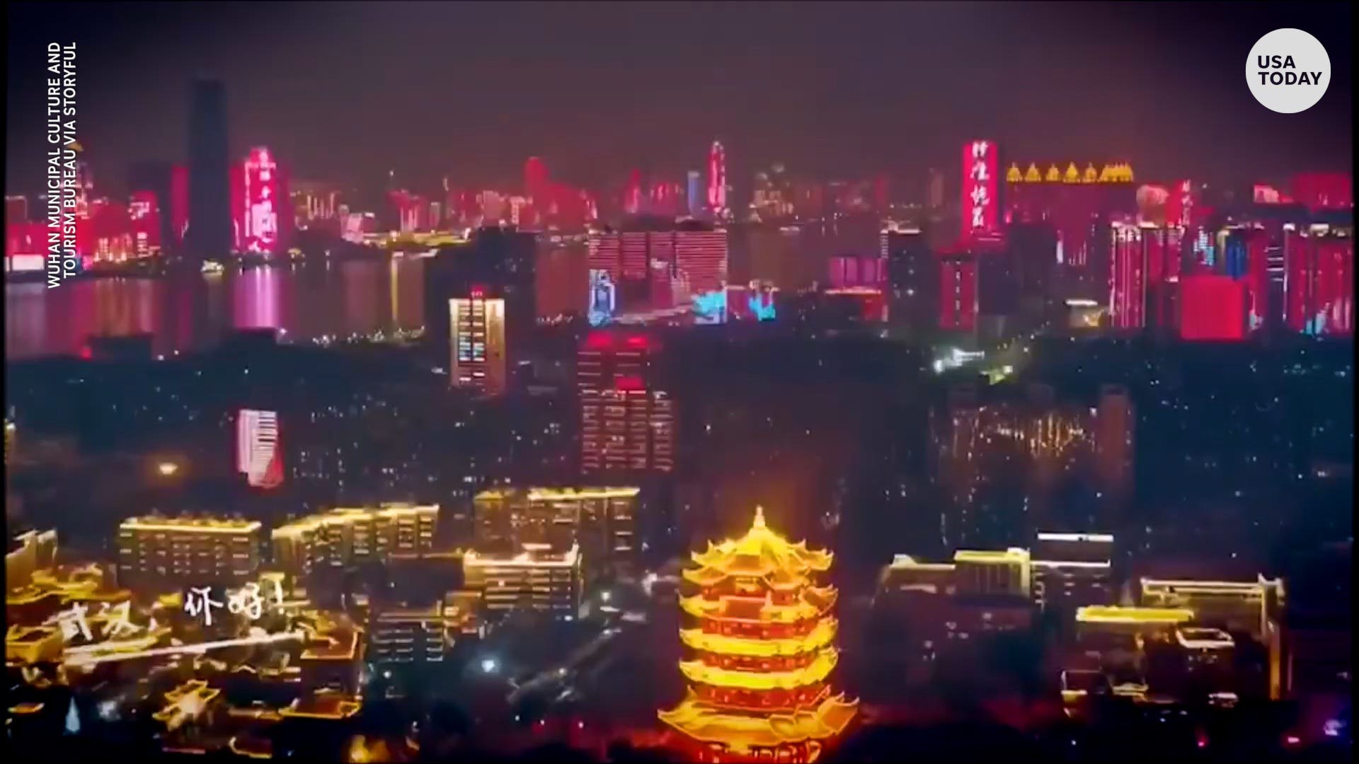 Wuhan, China lights up the night after 76 days of COVID-19 lockdown