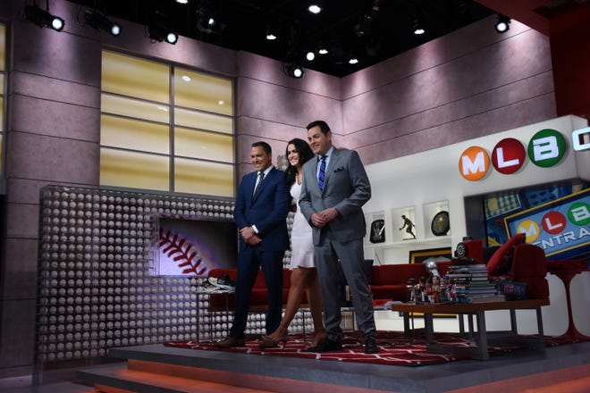 MLB Central hosts (L-R) Mark DeRosa, Lauren Shehadi and Robert Flores can't broadcast from the MLB Network studios during the coronavirus shutdown, so they're getting together for digital segments three times per week.
