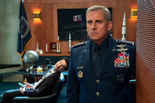 """Left to right: Ben Schwartz as F. Tony Scarapiducci, Steve Carell as General Mark R. Naird in Episode 1 of """"Space Force.""""  Aaron Epstein/Netflix"""