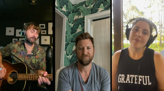 """Lady Antebellum (from left, Dave Haywood, Charles Kelley and Hillary Scott) perform """"Islands in the Stream"""" while quarantined in their homes on """"CMT Giants: Kenny Rogers."""""""