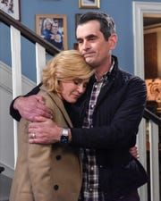Claire Dunphy (Julie Bowen), left, and her husband, Phil (Ty Burrell), wonder about their new life as empty-nesters in the series finale of ABC's acclaimed comedy, 'Modern Family.'
