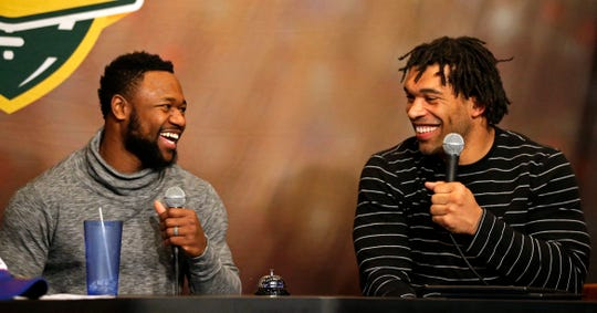 Then-Green Bay Packers running back Ty Montgomery (left) co-hosts Clubhouse Live in Appleton on Jan. 2, 2017. Montgomery's guest was linebacker and teammate Julius Peppers.