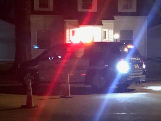 An Appleton Police Department vehicle blocks N. Linwood Street near Linwood Park on Wednesday night.