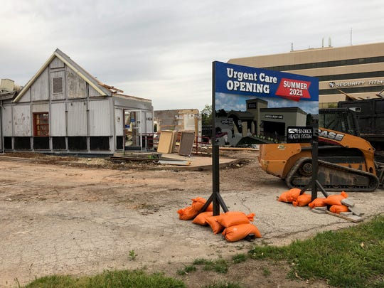 The roof and much of the front of the shuttered Long John Silvers at 4424 Buffalo Gap Road has been demolished on Thursday. A sign out front indicates a Hendrick Health System urgent care clinic is coming in summer 2021.