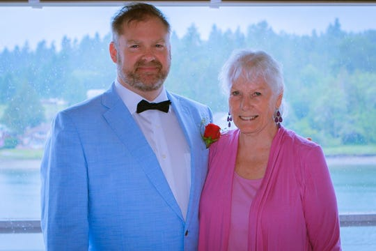Joanne Hunter with her son, Jon, on his wedding day.