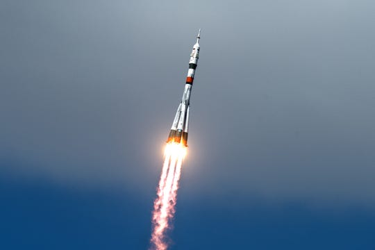The Soyuz MS-16 lifts off from Site 31 at the Baikonur Cosmodrome in Kazakhstan Thursday, April 9, 2020 sending Expedition 63 crewmembers Chris Cassidy of NASA and Anatoly Ivanishin and Ivan Vagner of Roscosmos into orbit for a six-hour flight to the International Space Station and the start of a six-and-a-half month mission.