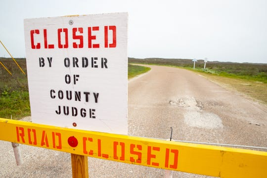 Barricades block Beach accesses road 6 learning to beach near Bob Hall Pier on Thursday, April 9, 2020. Nueces County Judge Barbara Canales has ordered the vehicle access to parks and beaches closed over the Easter wakened.
