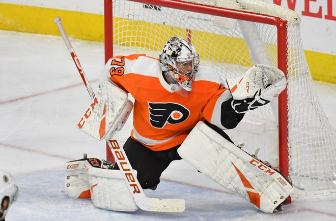 Flyers goalie Carter Hart had a .914 save percentage and 2.42 goals against average when the NHL paused its season on March 12.