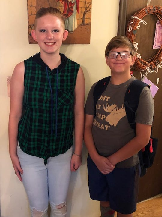 Quenten Locke (right) with his sister, on the first day of the 2019-2020 school year.