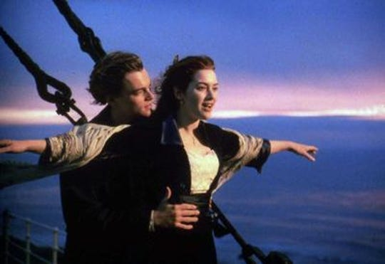 "Kate Winslet soars on the ""Titanic"" with Leonardo DiCaprio."
