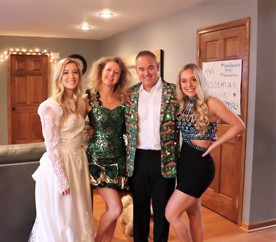 Jade, Amy, Kirby and Skylar Hasseman pose during a recent formal night they held in their home. The Hassemans have been posting YouTube videos of silly things they've been doing during the COVID-19 stay-at-home order to break up the monotony and hopefully amuse others.