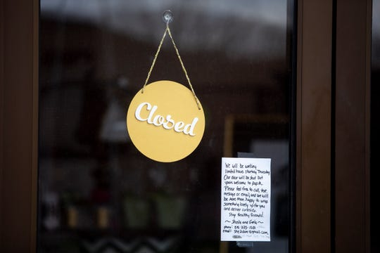 Restaurants and retail stores in Des Moines' East Village have been forced to close their doors because of the coronavirus on Thursday, April 9, 2020.