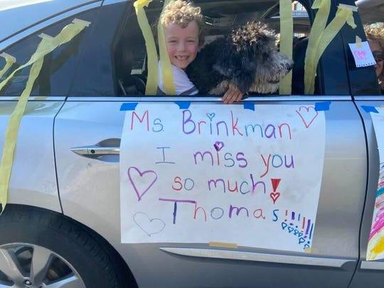 A student and his best friend shares their appreciation to second grade teacher Ms. Jennifer Brinkman.
