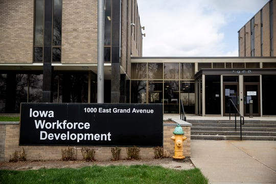 Outside the Iowa Workforce Development headquarters in Des Moines' East Village on Thursday, April 9, 2020.